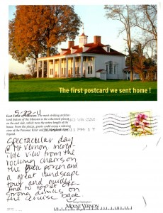 The first postcard we sent home -- From Mt. Vernon. www.postcardjar.com