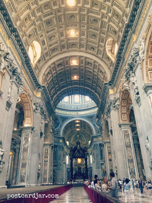 Our first glance inside St. Peter's Basilica.
