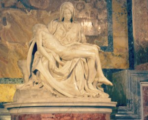 The Pieta' in St. Peter's Basilica. The marble sculpture dates back to 1499 and was assigned to a then 23-year-old Michelangelo Buonarroti.