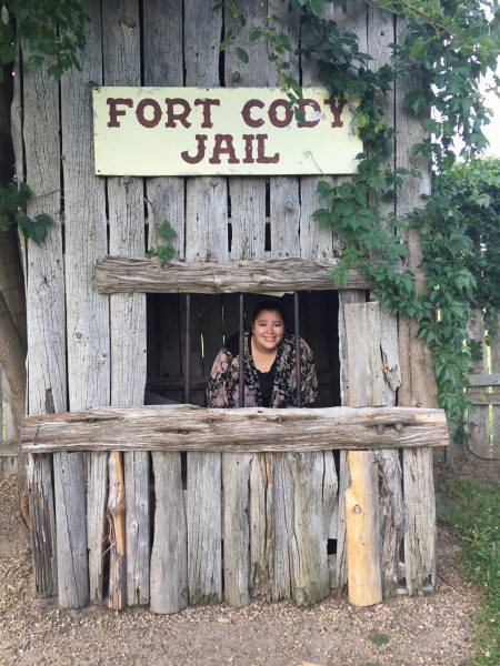 Meghan was a good sport and posed for a photo in the Fort Cody Jail.