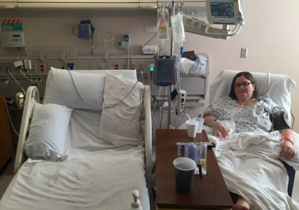 Recovering from thoracic surgery at Mayo Clinic's St. Mary's Hospital in Rochester, Minnesota.