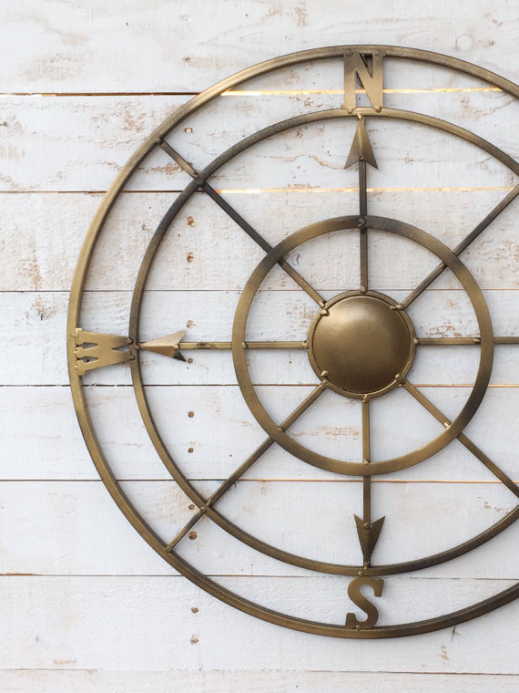 gold compass wall art for iron anniversary