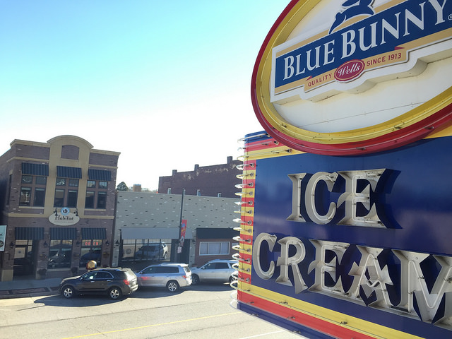The Blue Bunny Ice Cream Parlor in Le Mars, Iowa, is a great place to visit. The two-story building includes an old fashioned ice cream parlor, gift shop, a museum, and of course, lots of great Blue Bunny ice cream.