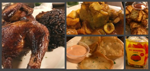 (Clockwise from left: 1/2 smoked chicken with beans and rice, seafood mofango, fried cheese, Mi Madre Pique, and bacalaitos.
