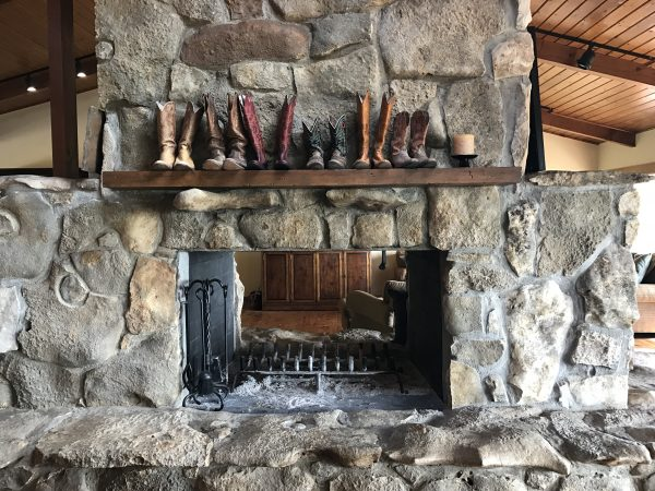 Pioneer Woman's lodge fireplace