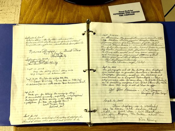 This notebook was filled with memories and thank-you notes from veterans who had visited the North Platte Canteen.