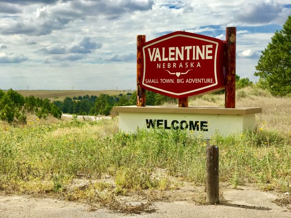 Valentine, Nebraska welcome sign