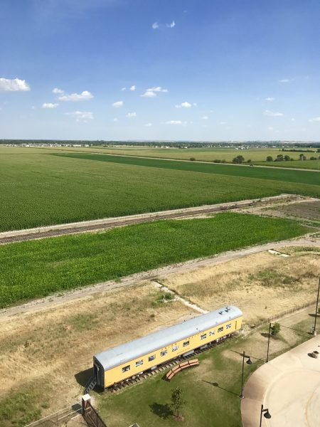The beautiful view of the prairie from the top of the Golden Spike Tower at Bailey Yard in North Platte, Nebraska.