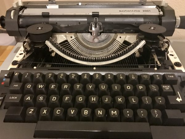 A typewriter on display at the Elkhorn Valley Museum in Norfolk, Nebraska