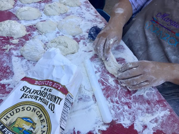 Rolling fry bread out at the National Indian Taco Championship in Pawhuska, Oklahoma.