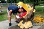 Lion head water fountain at Cody Park in North Platte, Nebraska