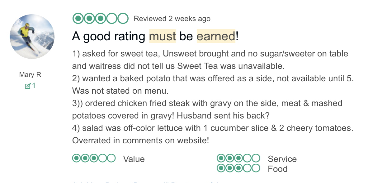 Peppermill TripAdvisor review