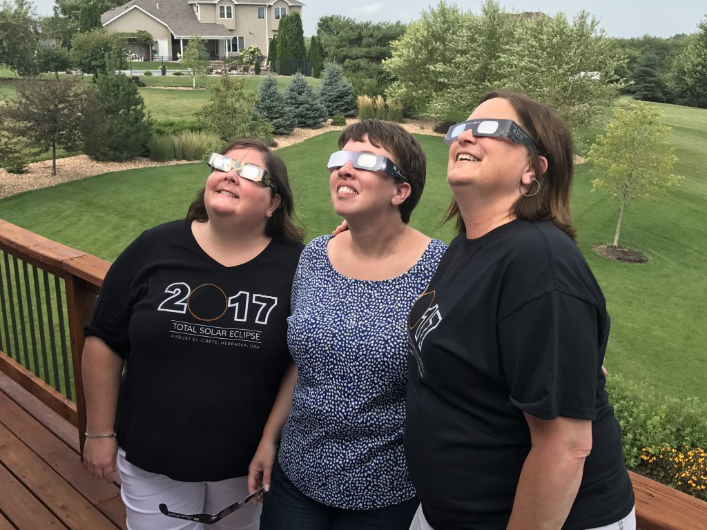 Lisa Trudell (and her husband, Tim of The Walking Tourists) and Sara Broers of Travel with Sara have become good friends. We were thrilled that they traveled to our home in Crete, Nebraska, to watch the total solar eclipse with us.