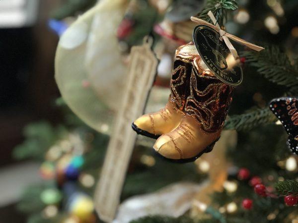 Boots ornament, Pioneer Woman Mercantile, Pawhuska, Oklahoma