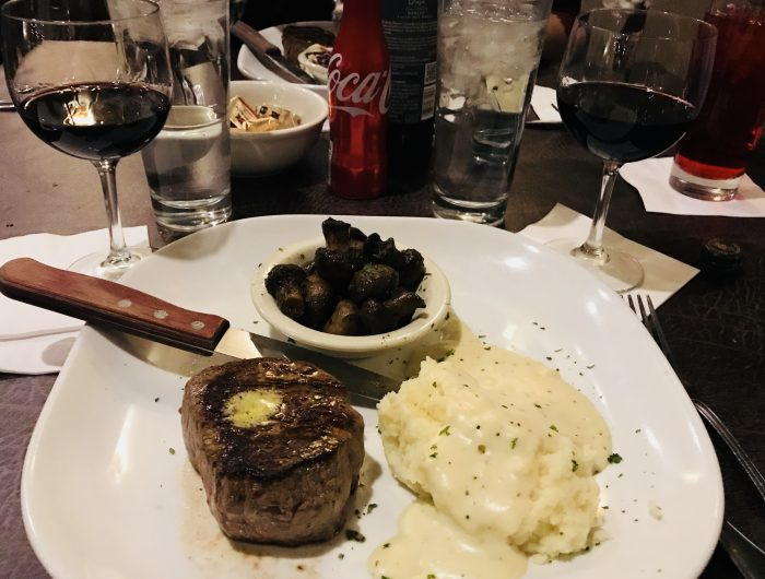 Gorat's Steakhouse, filet mignon with mashed potatoes and mushrooms, Omaha, Nebraska