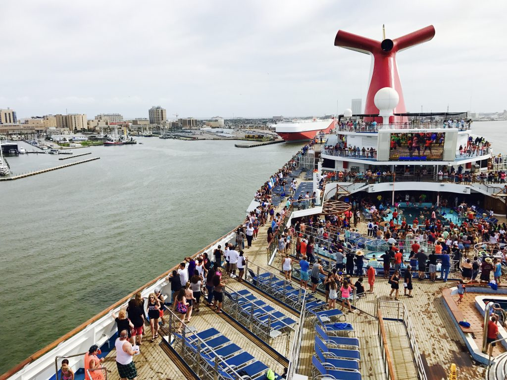 The decks were packed with people ready to have some fun at the sail away party on the Carnival Valor.