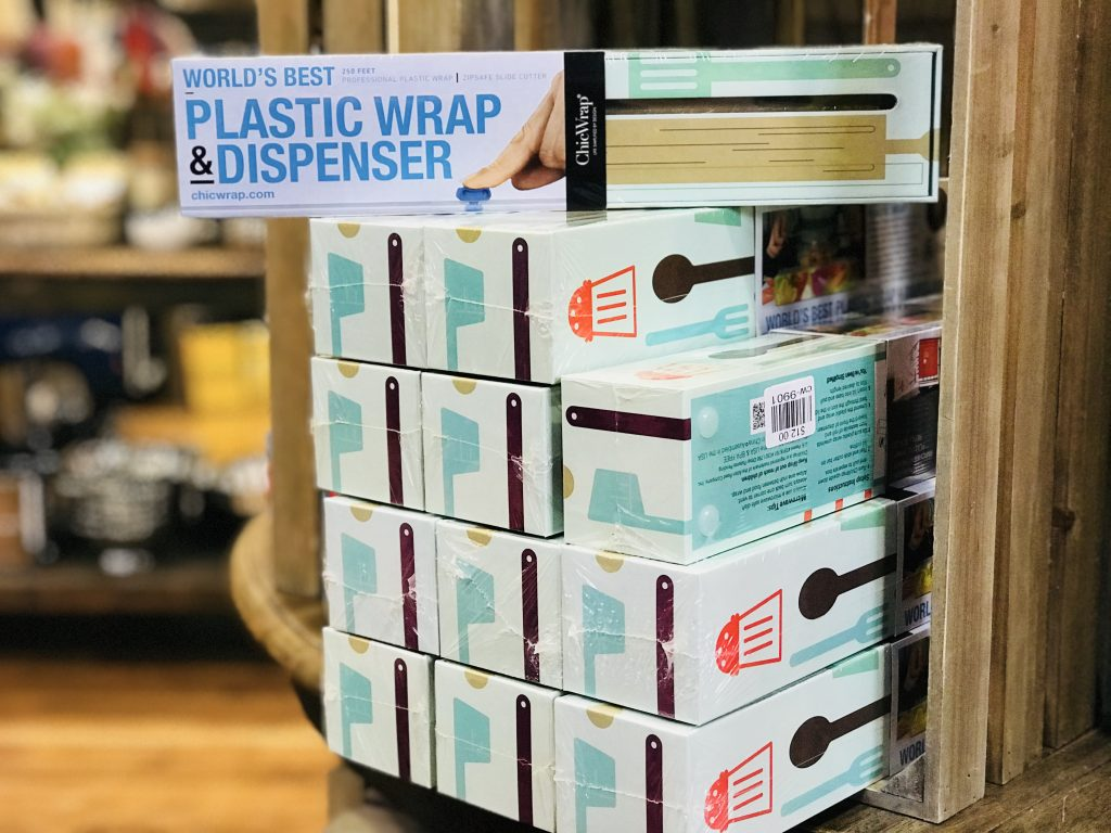 Love this plastic wrap dispenser from The Pioneer Woman Mercantile in Pawhuska, Oklahoma.