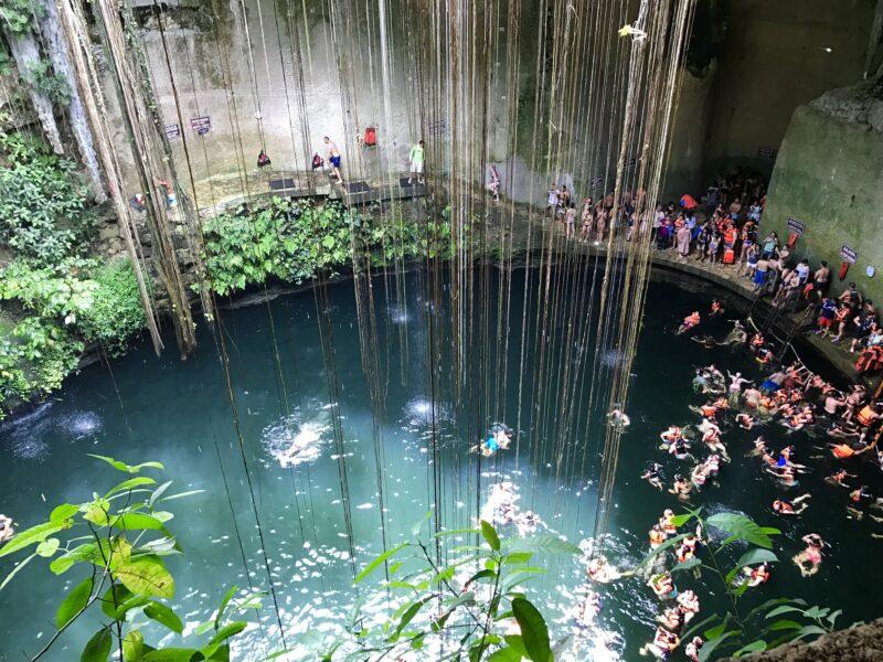 Swimming in the cenote.