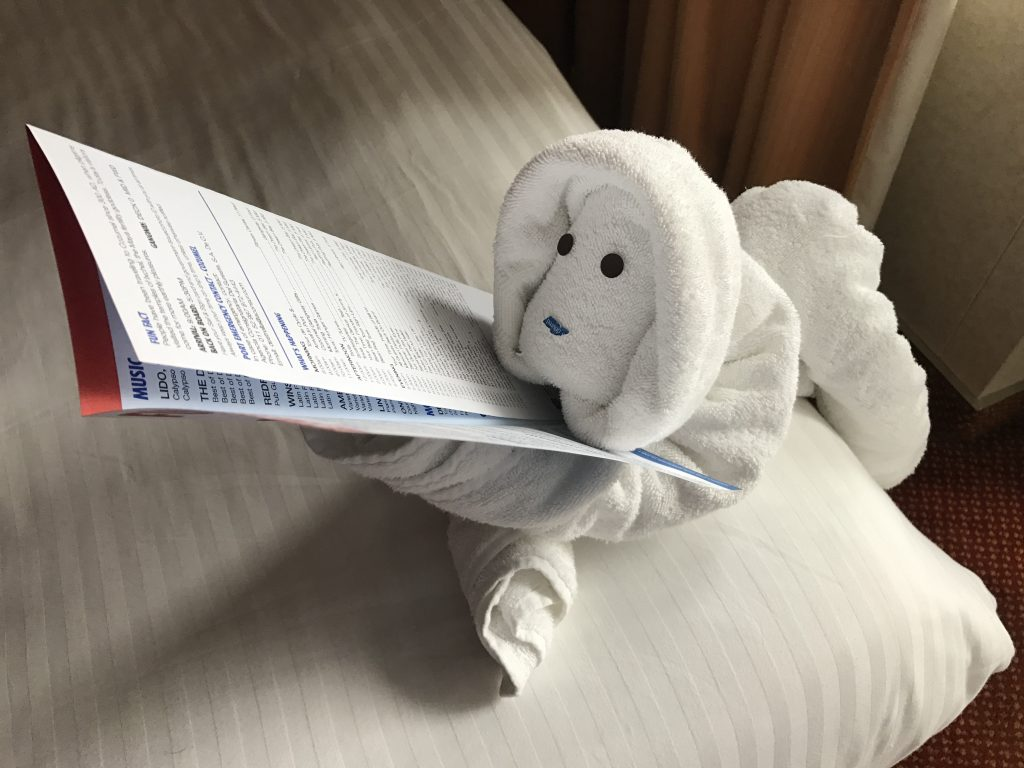 Towel animal on the Carnival Valor