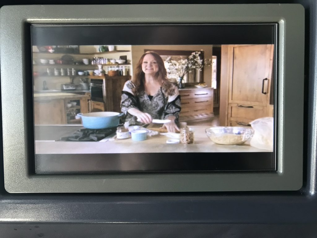 So excited that one of our favorite TV shows, The Pioneer Woman, was available to first-class passengers.