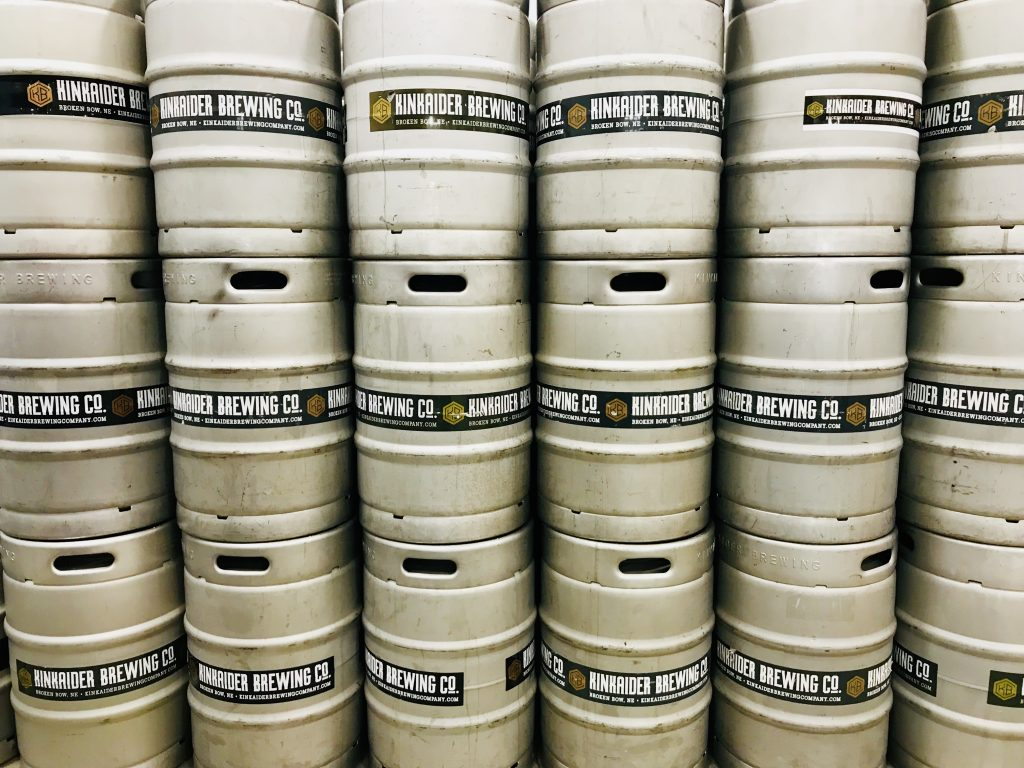 Kegs of Kinkaider beer.