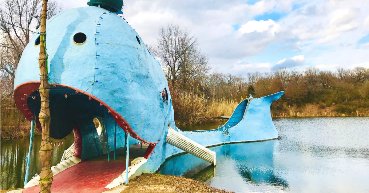 Our Route 66 stop at The Blue Whale of Catoosa near Tulsa, Oklahoma