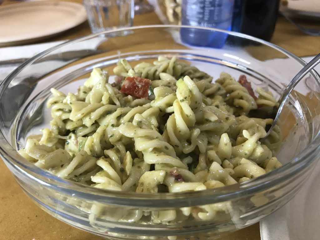 Pasta with pesto at Antica Salumeria Salvini, Siena, Italy