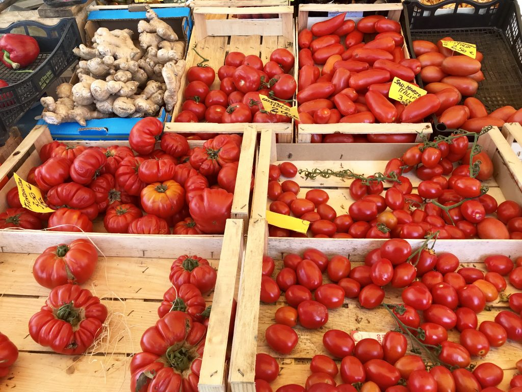 Fresh tomatoes in Siena, Italy.