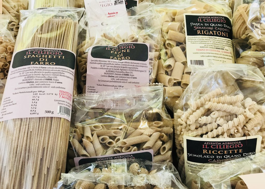 Pasta from the hidden farmers' market, Siena, Italy