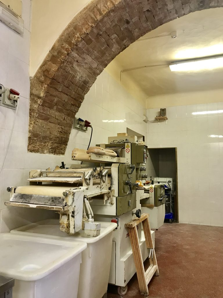 Baking equipment at il Magnifico in Siena, Italy.