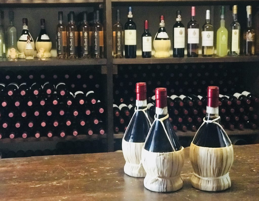 Chianti wine bottles