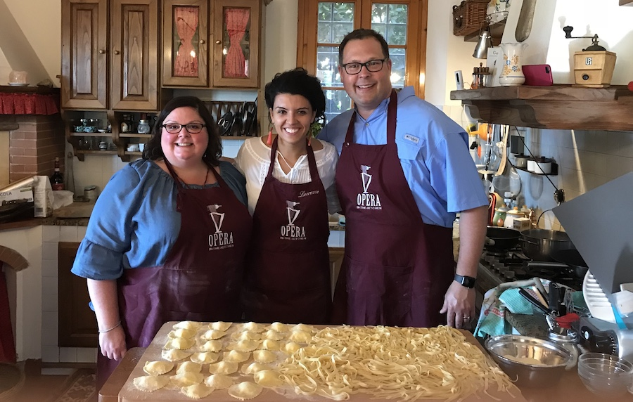 We loved learning how to make pasta with Opera in the Kitchen while traveling through Tuscan in 2018.