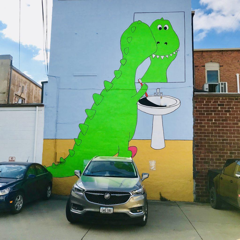 Grinnell Iowa dinosaur mural