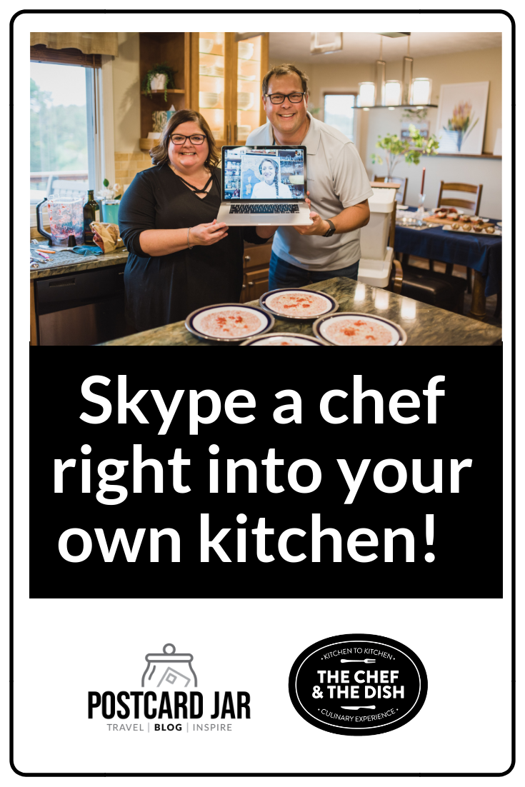 The Chef & The Dish uses Skype to bring a chef right into your kitchen for a cooking class. Great date night, girls night, or dinner party and lots of culinary experiences to choose from. #datenightin #thechefandthedish #cookingclasses #italiancookingclass #culinaryexperience