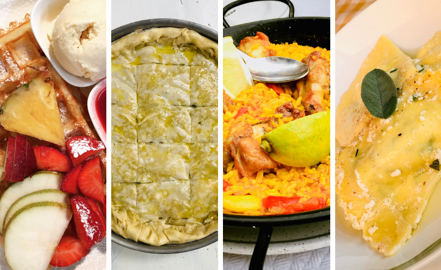 A fruit covered waffle in Belgium, spinach pie in Greece, Paella in Spain, and ricotta stuffed ravioli in Tuscany.