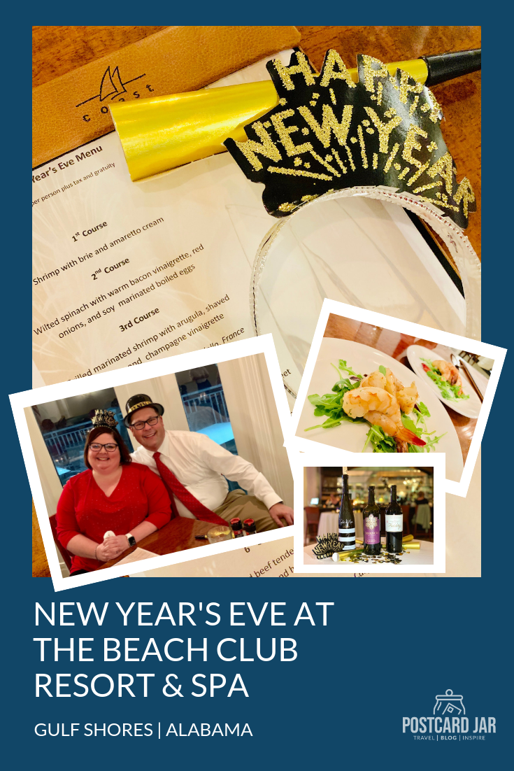 All the details of our New Year's Eve dinner and wine pairing at Spectrum Resorts' Beach Club Resort and Spa in Gulf Shores, Alabama. #hosted