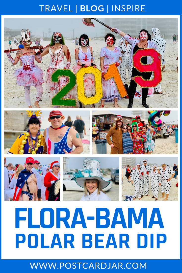 The Flora-Bama Polar Bear Dip Is a fun way to ring in the new year. Dress up in wacky costumes, grab a Bushwacker cocktail, and have a blast running in to the Gulf of Mexico on New Year's Day. Then, enjoy a free beer and meal after you've gone under. #VisitALBeaches #FloraBama #PolarBearDip #PolarPlunge #Costumes #Fun #funnycostumes #Alabamabeaches #NewYearsDaycelebrations
