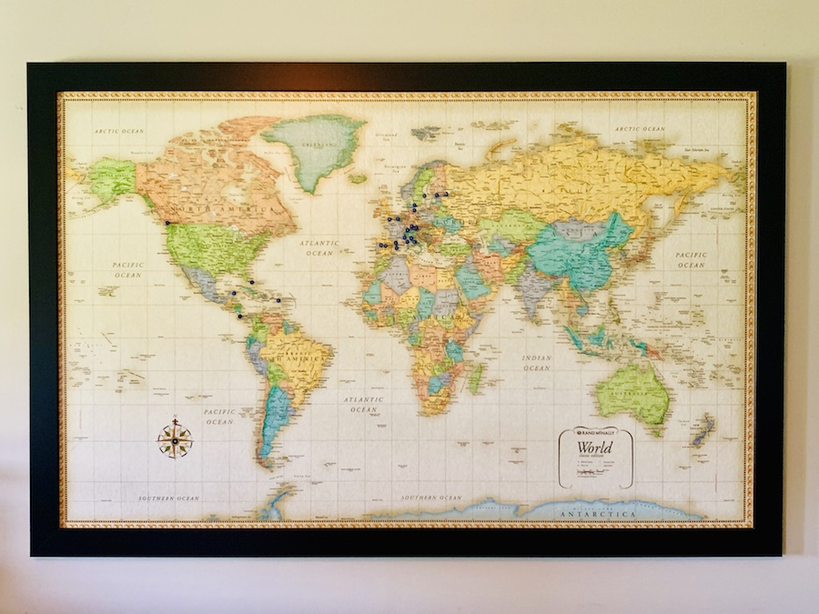 first anniversary gift world map with pins