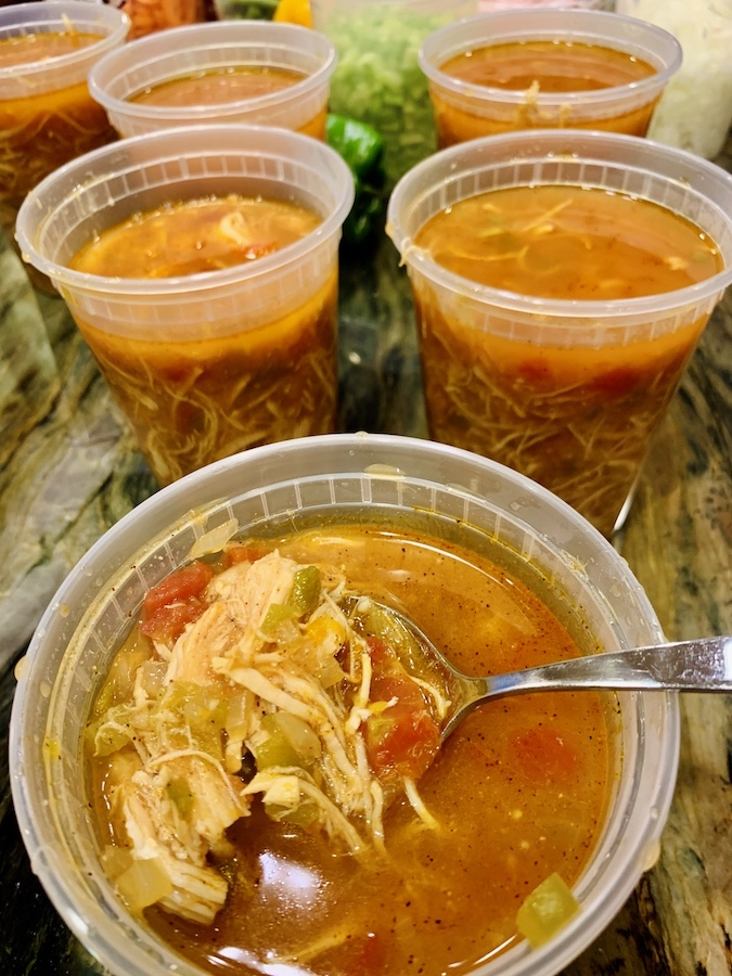 Chicken tortilla soup containers