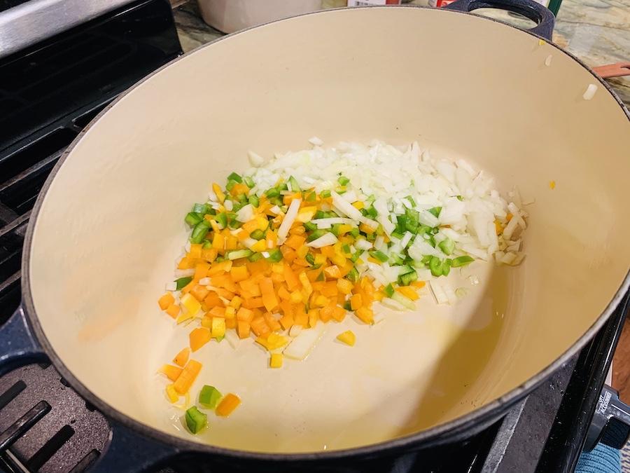 Start of chicken tortilla soup