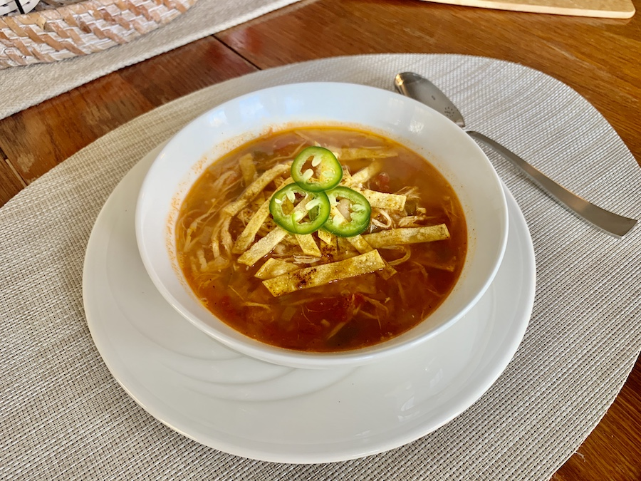 Chicken tortilla soup bowl