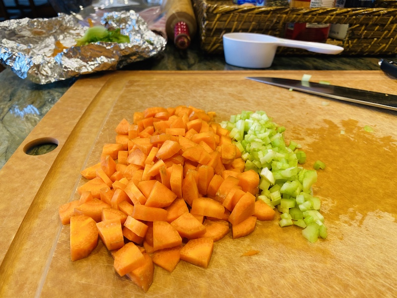 Vegetables cut for the sauce
