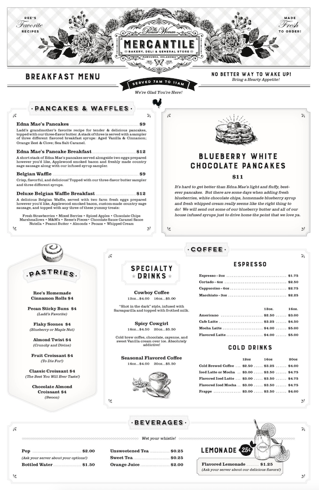page two of breakfast menu at the pioneer woman mercantile
