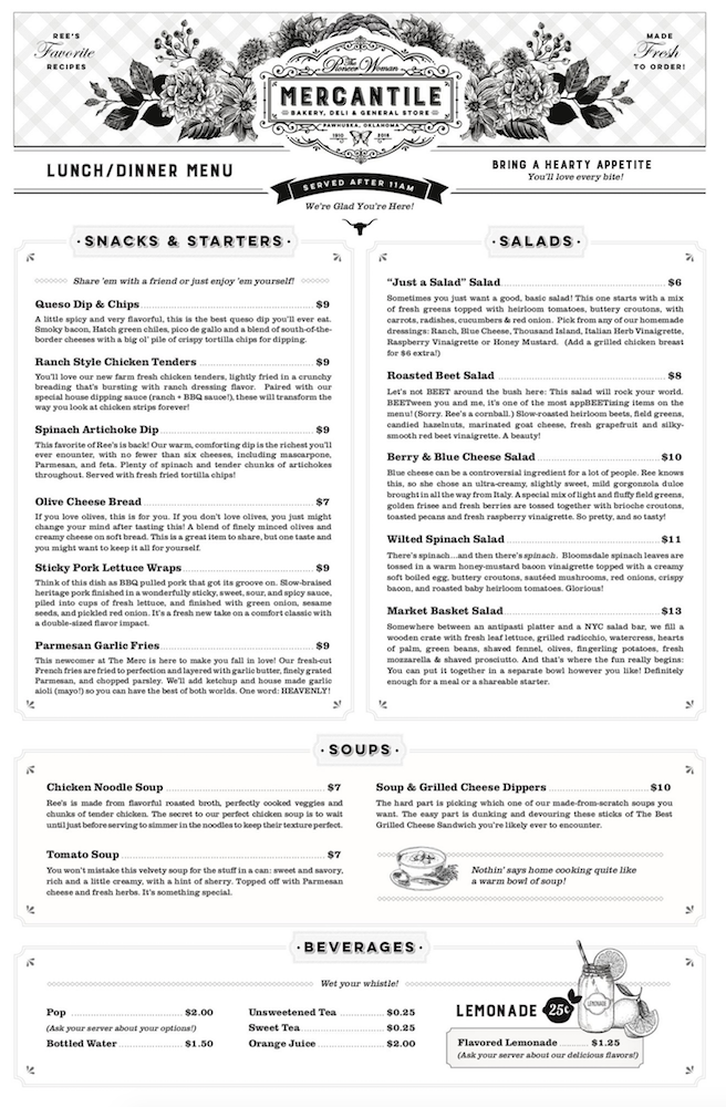 page one of lunch/dinner menu at the pioneer woman mercantile
