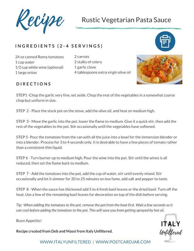 rustic vegetarian pasta sauce recipe
