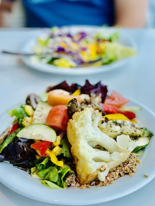 roasted cauliflower and salad