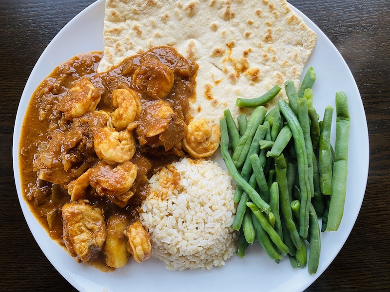 shrimp vindaloo and green beans
