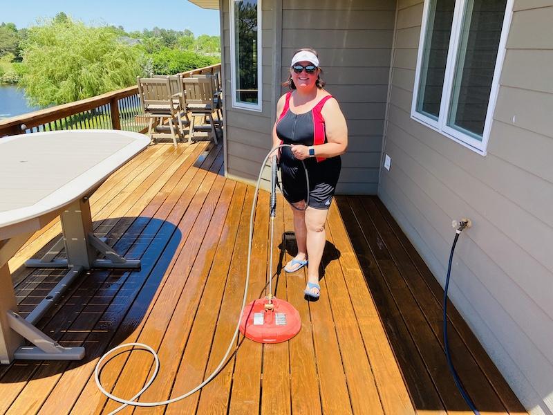 Ann power washing deck
