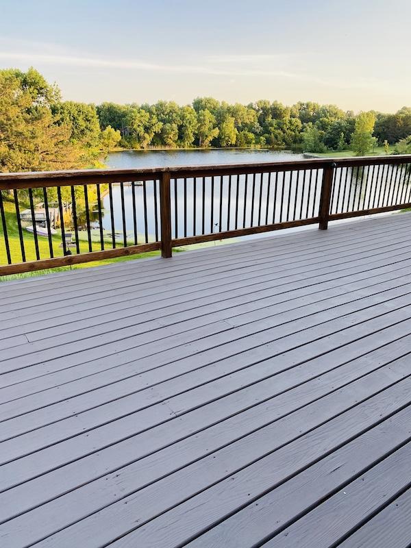 Rock Solid deck resurfacer floor coat down