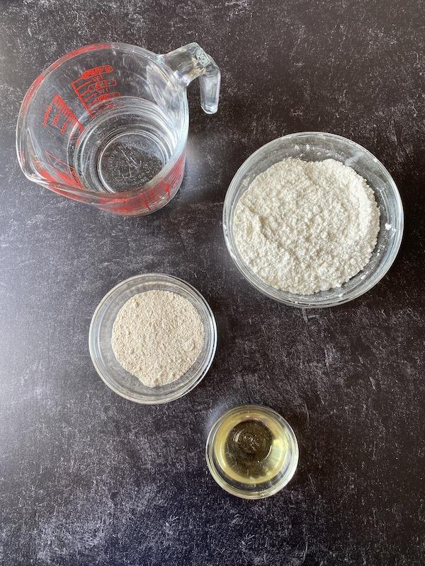 Making roti flatbread dough ingredients